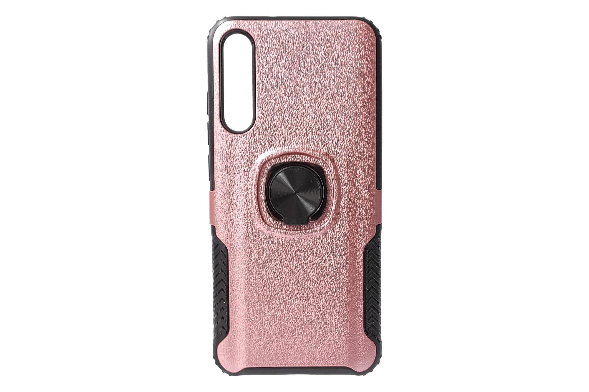 Hjin Metallic Leather Ring TPU Case Xiaomi Mi A3 Rose Gold