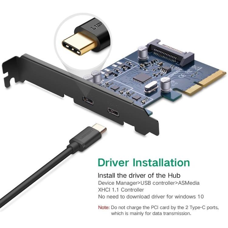 UGREEN USB C PCI Card  2 Porty USB 3.1 Typu C